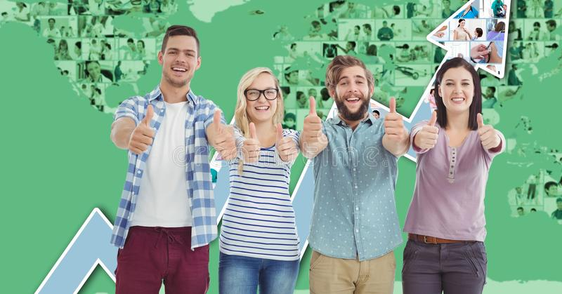 Casual business people gesturing thumbs up against graph royalty free illustration