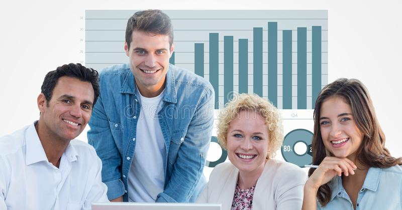 Casual business people smiling against graph stock illustration