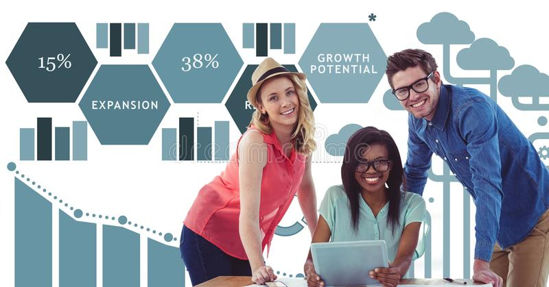 Casual business people with tablet PC against data stock illustration