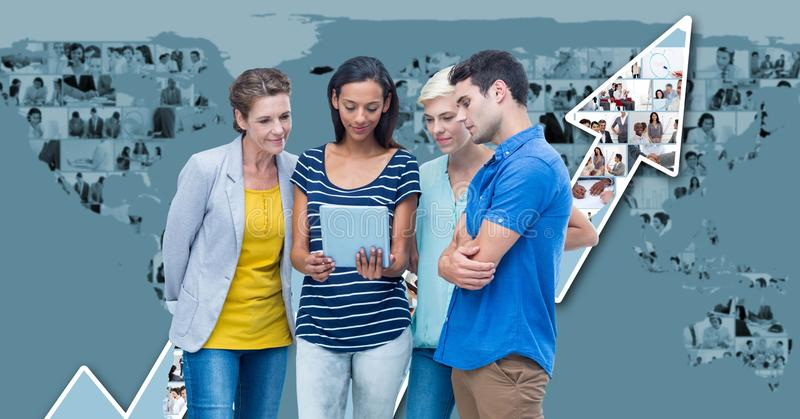 Casual business people using laptop with map and arrow graphics in background stock photo