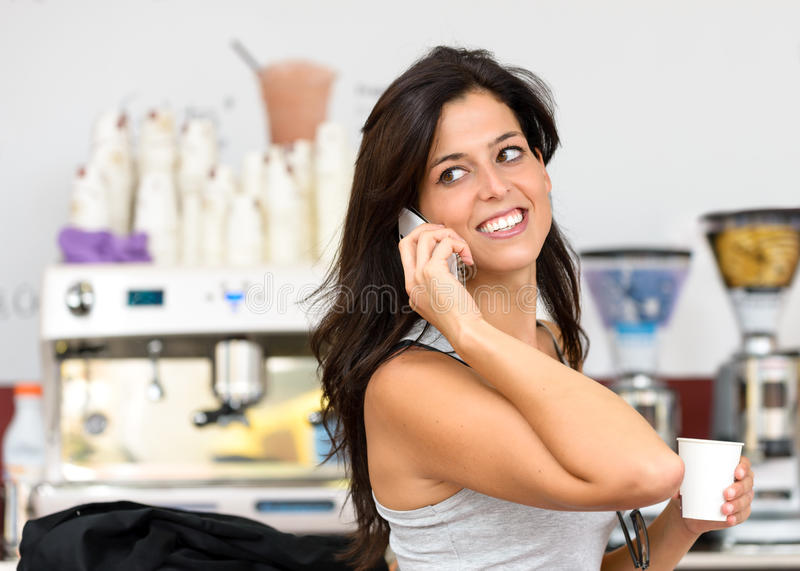 Casual business woman on coffe break royalty free stock photo