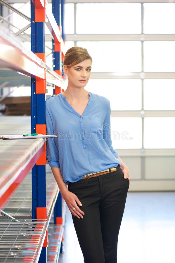 Free Casual Business Woman Standing In Warehouse Stock Images - 31966154