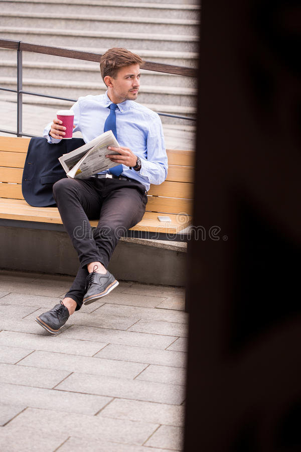 Casual businessman after business trip. Image of casual businessman going home after business trip royalty free stock image
