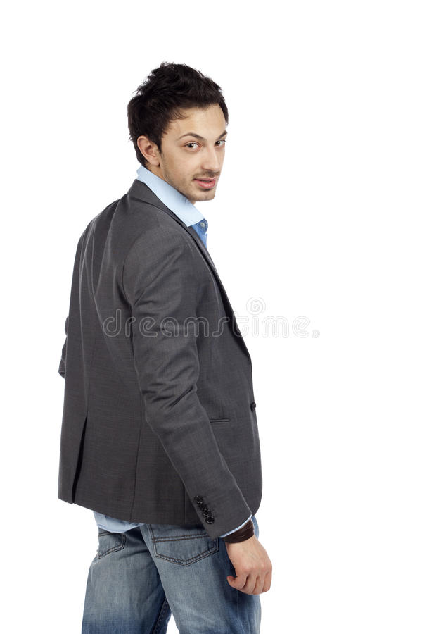 Download Casual Businessman Looking Back Stock Image - Image: 19301333