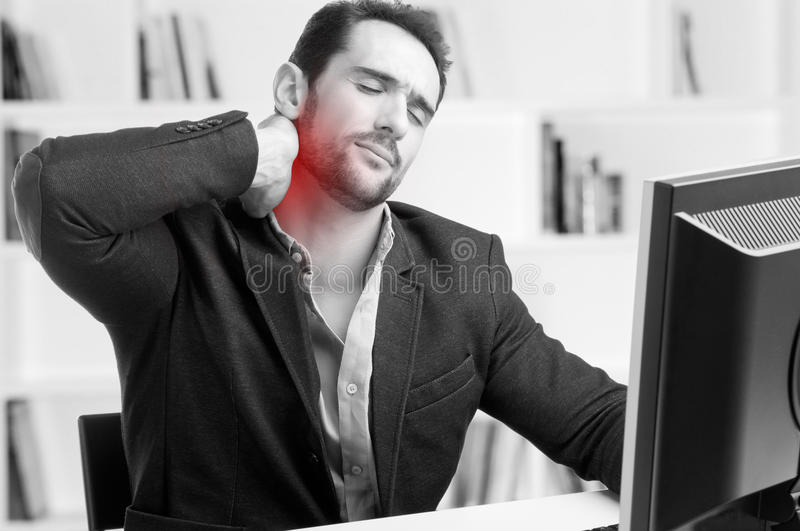 Casual Businessman With Pain In His Neck stock photos