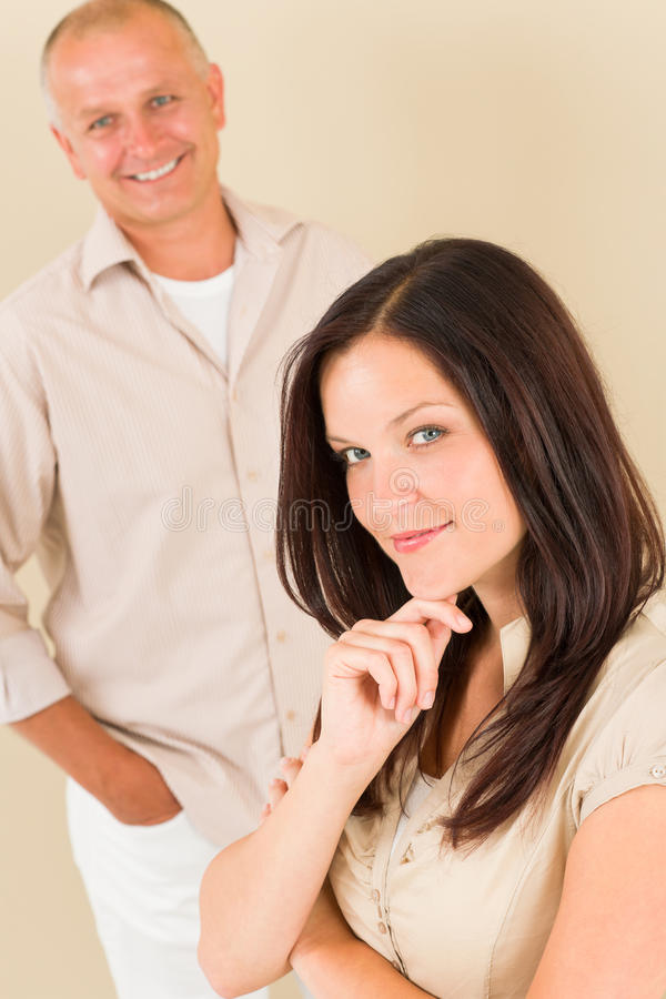 Casual Businesswoman Attractive With Man Colleague Royalty Free Stock Photo