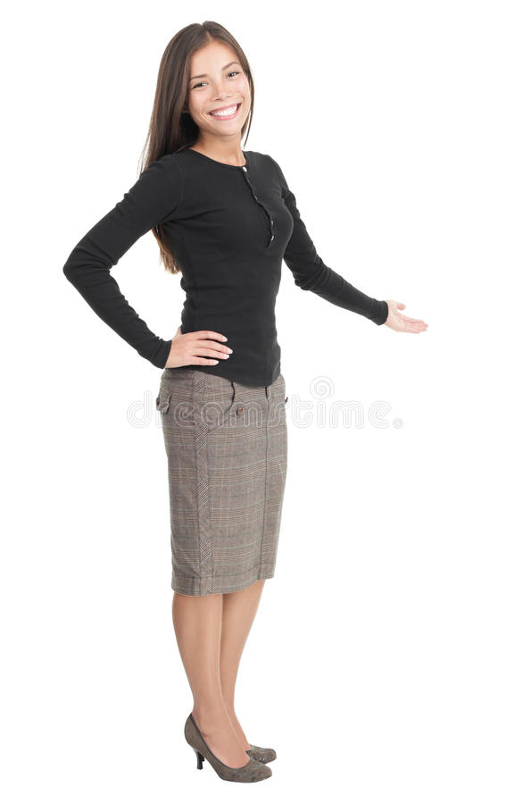 Casual Businesswoman Welcome Gesture Royalty Free Stock Images