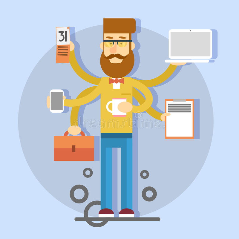 Casual Busy Business Man With Many Hands Holding Cup, Suitcase, Laptop, Smartphone, Calendar. Flat Vector Illustration vector illustration