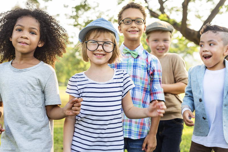Casual Children Cheerful Cute Friends Kids Concept royalty free stock photos