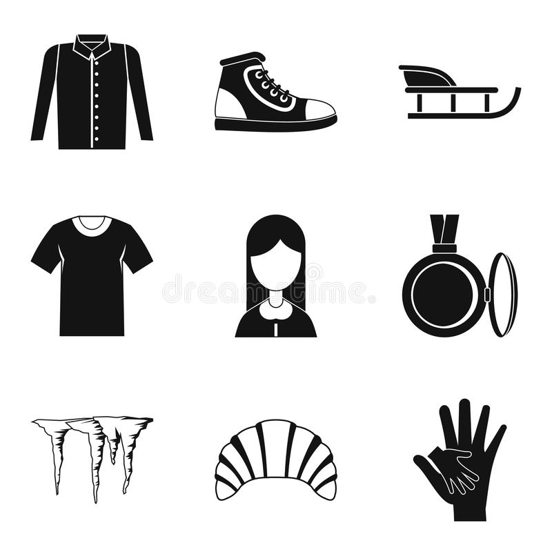 Casual clothing icon set, simple style vector illustration