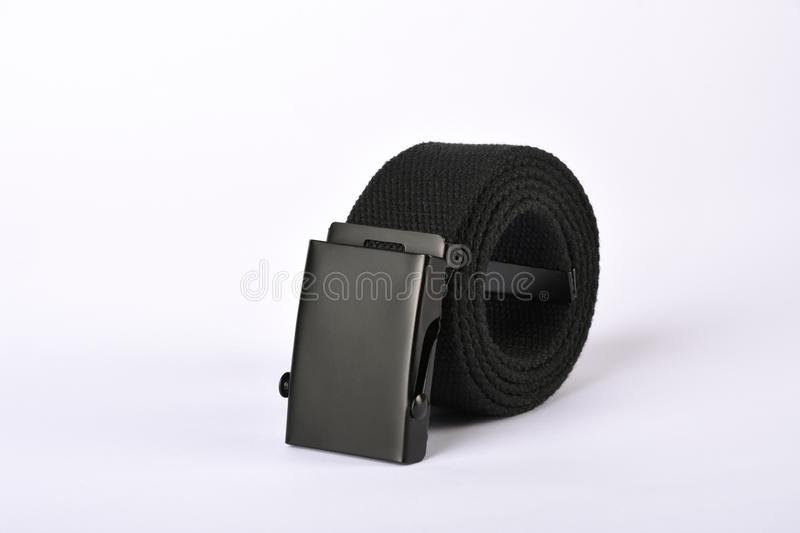 Casual clothing, men`s accessory fabric belt isolated on white stock images