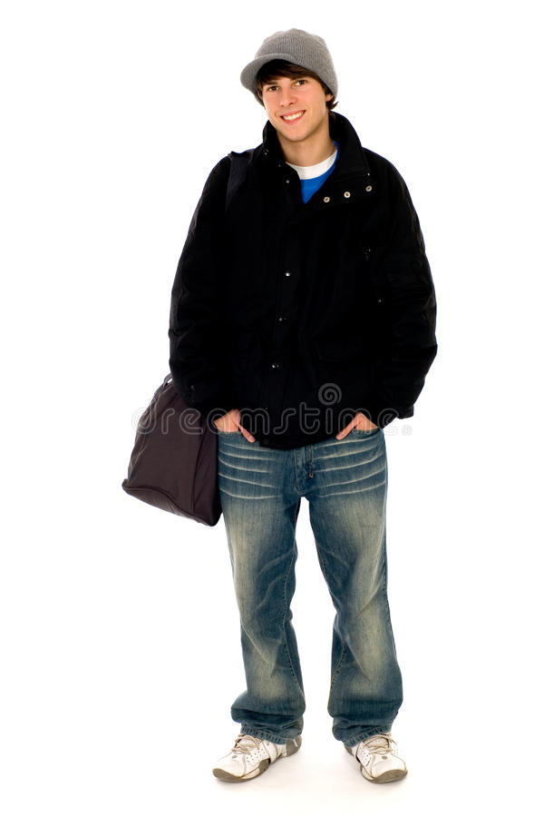 Casual cool young guy. Standing royalty free stock photos