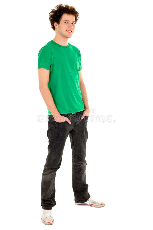 Casual cool young guy. Smiling royalty free stock image