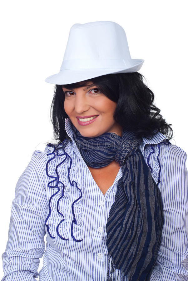 Casual corporate woman with white hat
