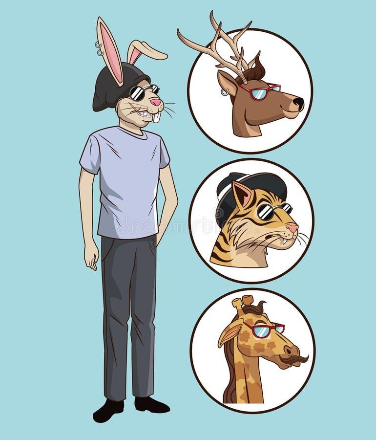 Casual del estilo del inconformista del conejo vestido con los animales de los iconos libre illustration