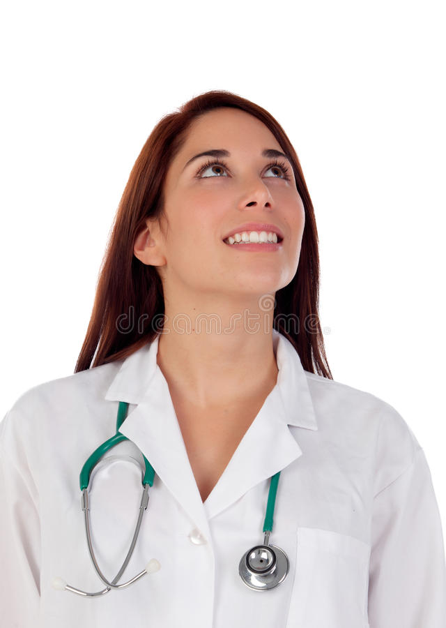 Casual doctor with brown eyes looking up. Isolated on a white background stock photography