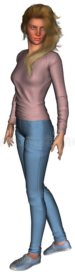 Casual Dress Woman Illustration Isolated vector illustration