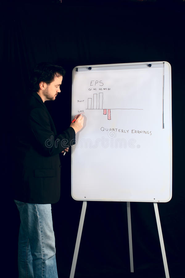 Download Casual Executive Gives Presentation On Whiteboard Stock Image - Image: 11550341