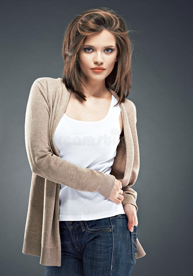 Casual fashion style young woman portrait. Beautiful girl royalty free stock images