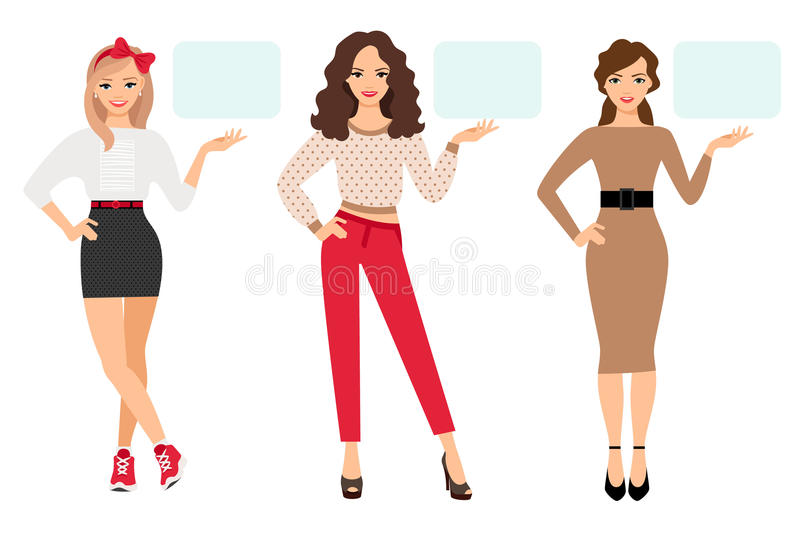 Casual fashion woman presentation. Vector illustration. Young girl shows up on empty plate in different poses stock illustration