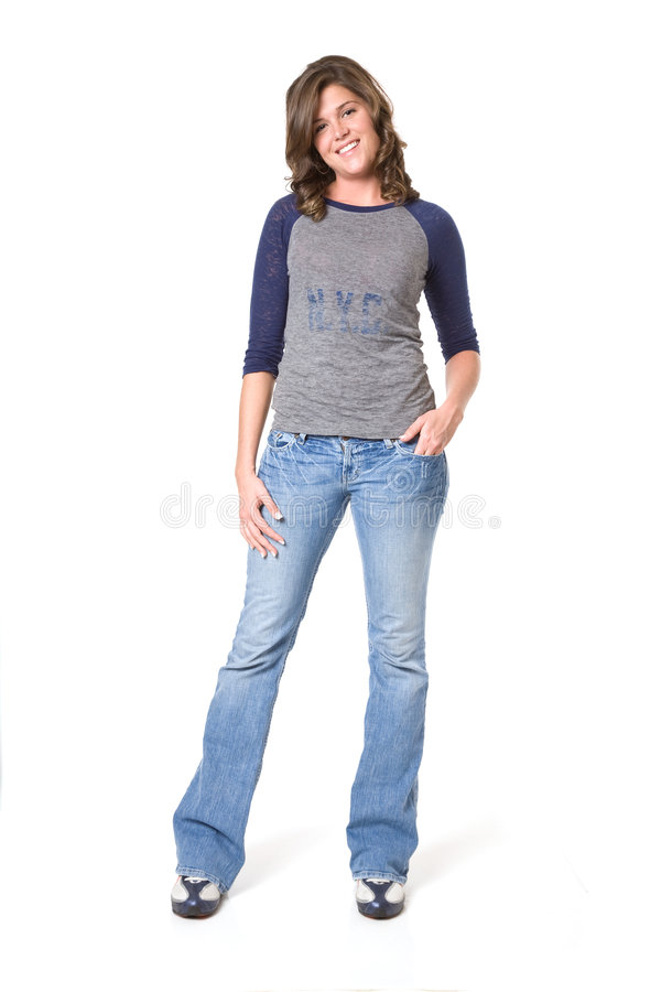 Casual Female In Jeans And T-shirt Stock Image - Image of women shoes 7808205