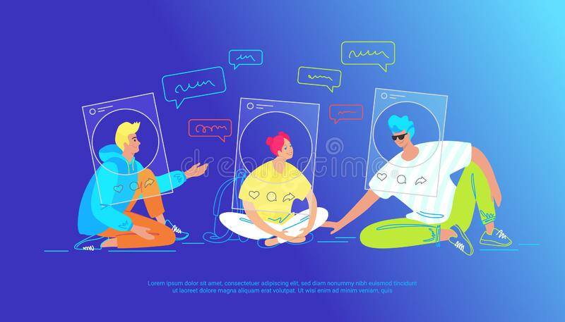Casual friends talking in social media as profiles. Gradient vector illustration of three teenegers sitting on the floor chatting. Casual friends talking in vector illustration