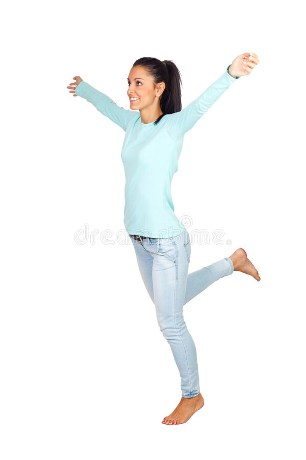 Casual Girl With Arms Wide Open Stock Image