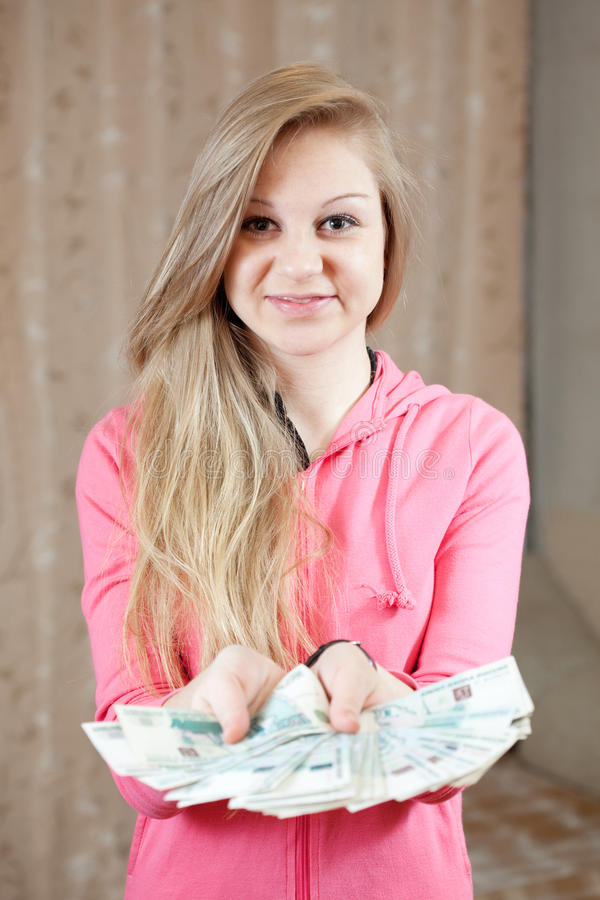 Casual girl with many money stock images