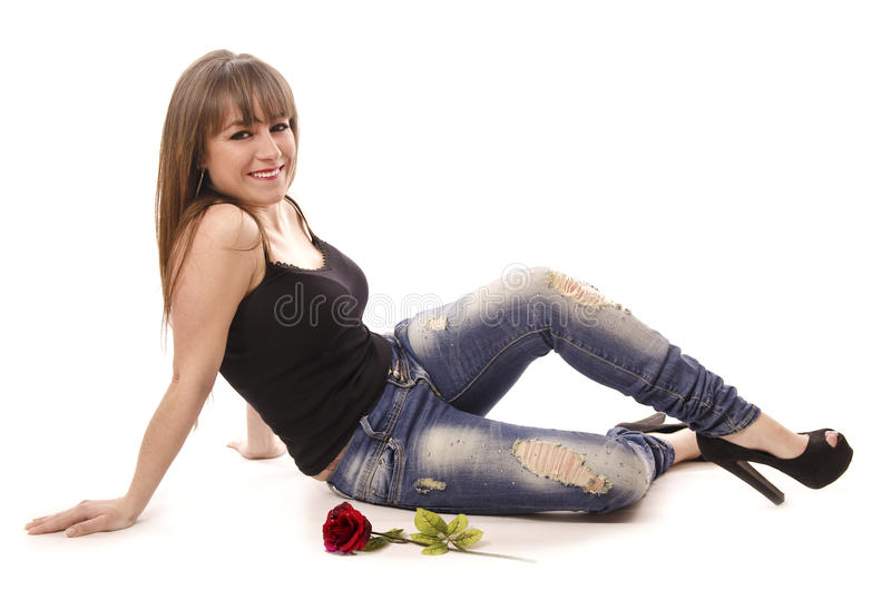 Casual girl with urban style. stock image