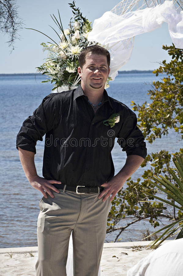 Casual Groom outdoors stock images