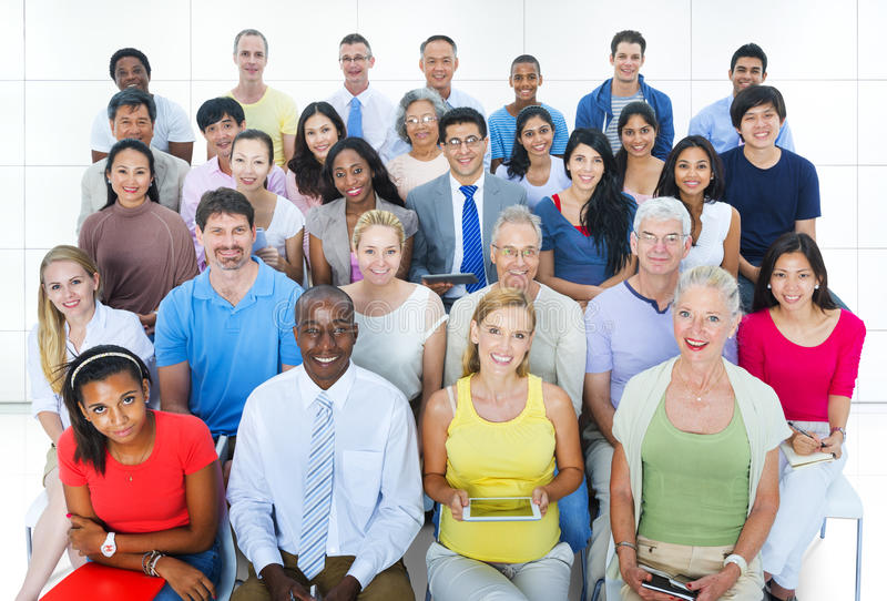 Casual Group Diverse People Social Convention Audience Concept stock image