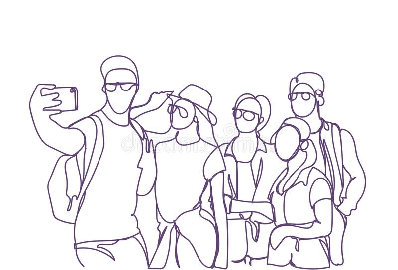 Casual Group Of Young People Taking Selfie Photo On Smart Phone Doodle Men And Women Make Self Portrait vector illustration