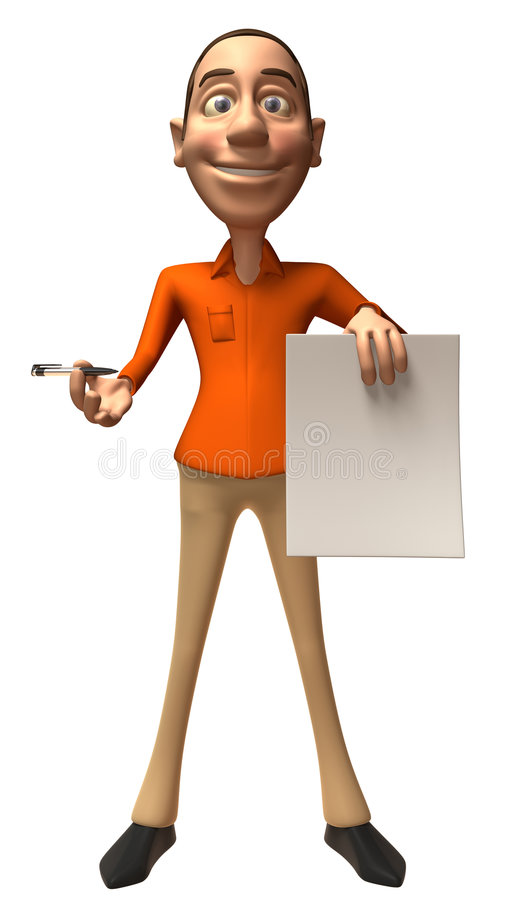 Download Casual Guy With A Blank Sign Stock Illustration - Illustration of marketing, blank: 6915770