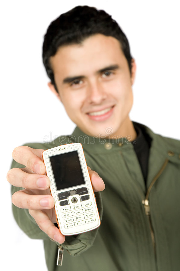 Download Casual Guy Showing His Phone Stock Image - Image: 1417661