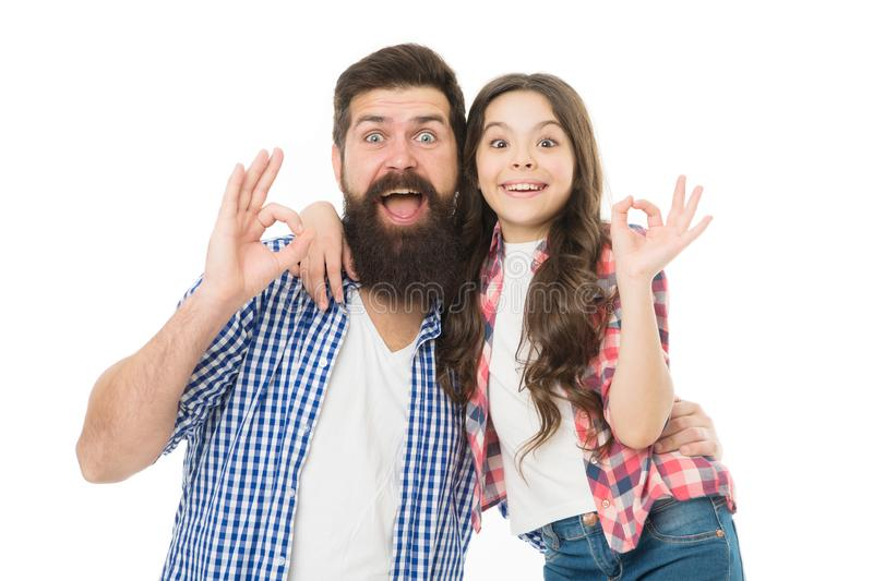 Casual and informal. Bearded man and cute girl in casual outfit gesturing ok. Happy father and small child in casual. Casual and informal. Bearded men and cute stock photo