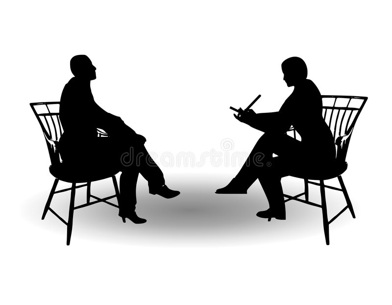 Casual Interview Meeting. An illustration featuring 2 figures sitting in chairs, one is taking notes - representing some kind of interview, meeting, etc