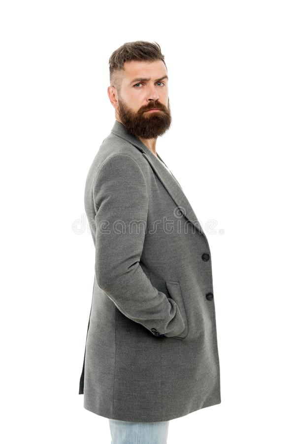Casual jacket perfect for any occasion. Feeling comfortable in natural fabric clothes. Simple and casual. Casual outfit. Menswear and fashion concept. Man stock photo