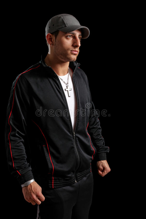 Casual Man. Casual young man. Studio shot over black stock photography