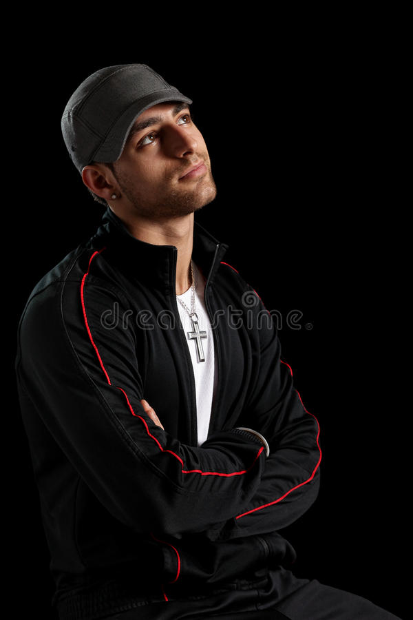 Casual Man. Casual young man. Studio shot over black royalty free stock photos