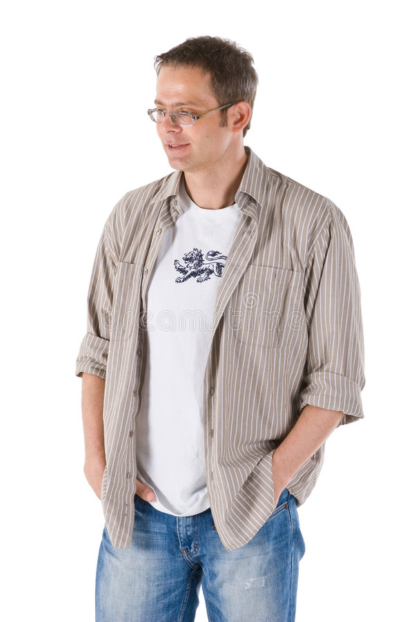Casual man. Man in relaxed pose and casual clothing with hands in pockets royalty free stock photos