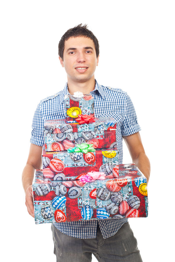 Casual man bought presents stock photography