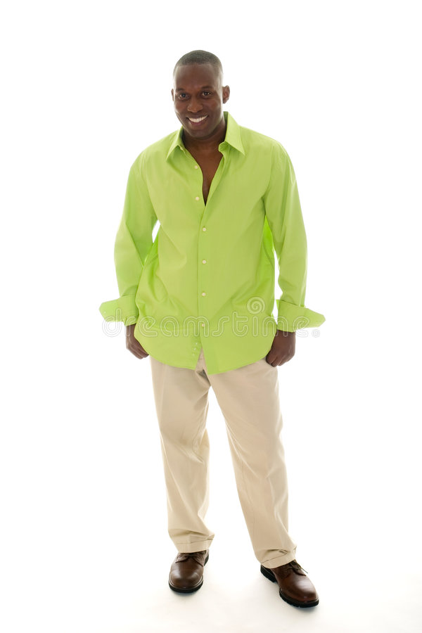 Download Casual Man In Bright Green Shirt Stock Image - Image: 7041381