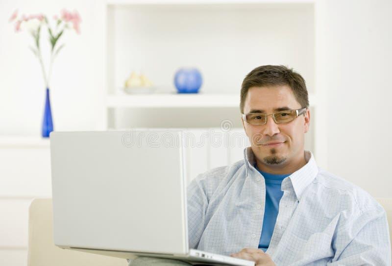 Casual Man Browsing Internet Royalty Free Stock Photo