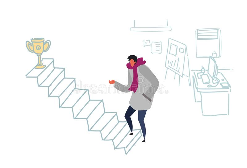 Casual man climbing career ladder prize first place motivation concept freelancer champion cup victory strategy modern. Office interior flat doodle horizontal stock illustration