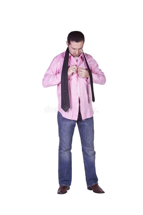 Casual Man Dressing Up stock photos