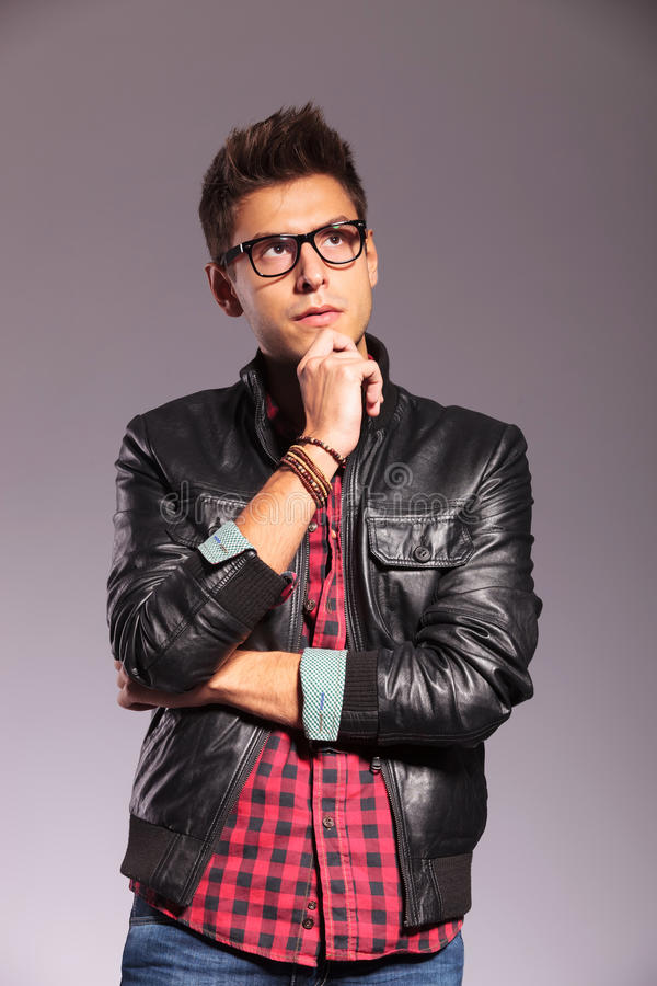 Download Casual Man In Leather Jacket Looking Up Stock Image - Image: 27825537