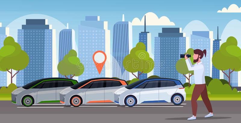 Casual man looking through binoculars searching automobile with location pin rent car sharing concept transportation vector illustration