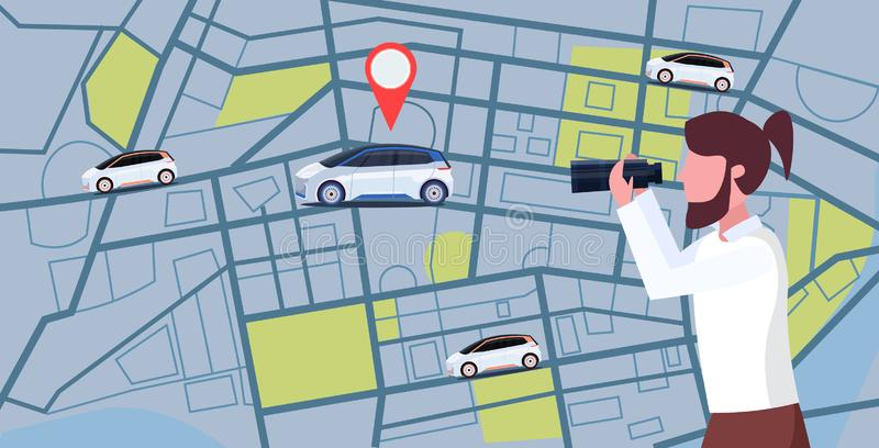 Casual man looking through binoculars searching automobile with location pin rent car sharing concept transportation. Carsharing service city street map stock illustration