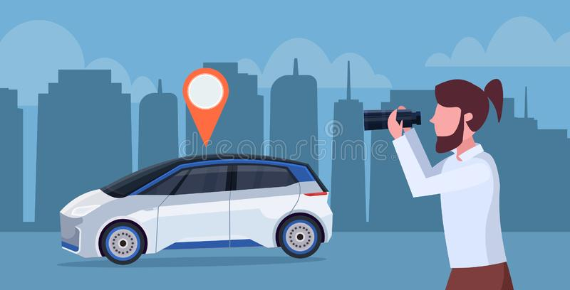 Casual man looking through binoculars searching automobile with location pin rent car sharing concept transportation. Carsharing service night cityscape vector illustration