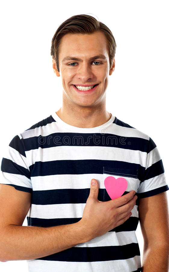 Download Casual Man With A Paper Heart Stock Photography - Image: 24511942